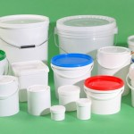 Plastic buckets, cans and jars